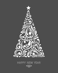 Stylized Christmas tree decoration made from swirl shapes. New Year design template. Vector