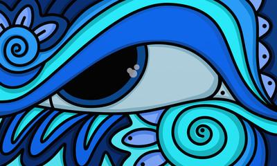 Spoed Foto op Canvas Klassieke abstractie big blue eye