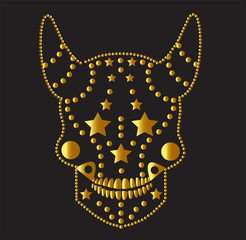 Devil gold color vector with stars and horns