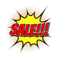 Sale tag in comic speech bubble, halftone design, isolated vector