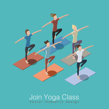 Join yoga class isometric vector illustration concept. Healthy life style. Group of women doing yoga workout at studio with trainer.