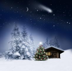 Wall Mural - Schihütte mit Weihnachtsbaum