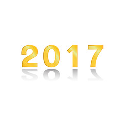 The 2017 gold on white background