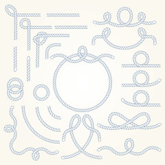Rope nautical vector borders elements set. Isolated. Marine design for your sailor poster, t-shirt, card or web.