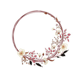 Vector cute floral round frame. Hand drawing illustration.