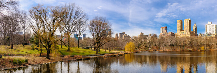 View of New York buildings from Central Park at winter