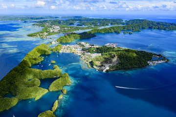 Full view of Palau Malakal Island and Koror - World heritage sit