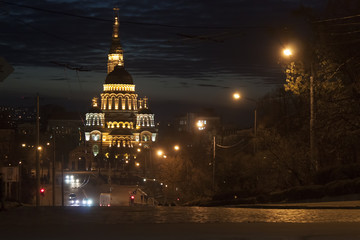 Annunciation Cathedral in Kharkiv late at night