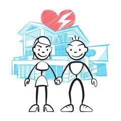 Strichmännchen Paar vor Traumhaus mit Sorgen
