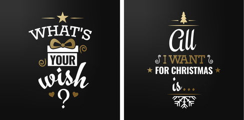 Merry christmas set of luxury gold lettering, with caligraphic letters, text and decoration, collection of premium christmas vector illustration for postcard, banner and wish card