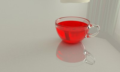 cup tea 3d illustration