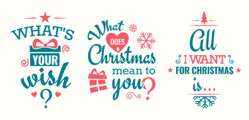Merry christmas set of modern lettering in turquoise and pink, with trendy colors, text and decoration, collection of premium vector illustration for christmas postcard, banner and wish card