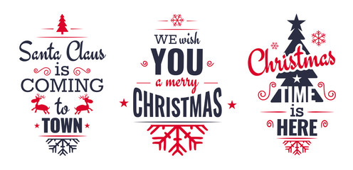 Merry christmas set of modern lettering in dark blue and red, with trendy colors, text and decoration, collection of premium vector illustration for christmas postcard, banner and wish card