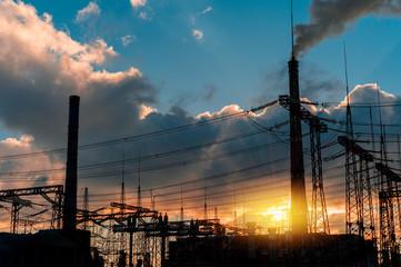 Twilight photo coal power plant