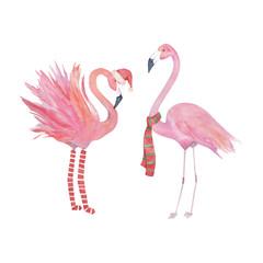 Watercolor christmas flamingo, decorative design.Isolated elements