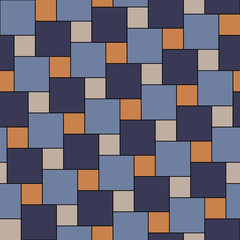 Vector blue and orange tiles seamless pattern, square grid textile print, abstract texture for fashion design