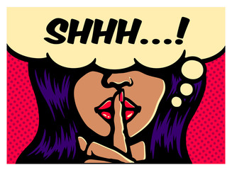 Fotobehang Pop Art Shhh! Less talk, more action, glamorous woman making silence gesture with finger on lips comic book pop art style vector poster illustration