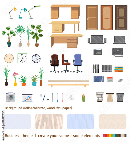 Set Of Business Elements And Furniture To Create Your Own