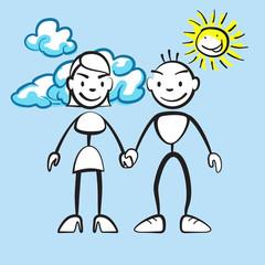 Strichmännchen Paar mit Wolken und Sonne