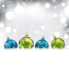 Winter Background with Colorful Glass Balls and Snowflakes