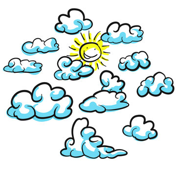 Verschiedene Wolken Formen Vektor Skizzen mit Sonne