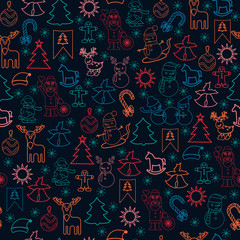 Christmas pattern for wrapping paper with Christmas icons