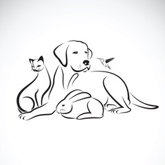 Vector group of pets on white background.  Dog, Cat, Humming bir