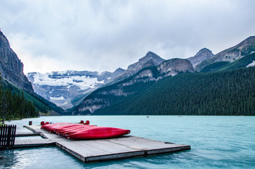 red canoes on Lake Louise