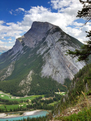 Close up of Mount Rundle in Banff Alberta