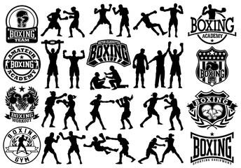 Editable vector silhouettes and badges collection of man and woman boxing