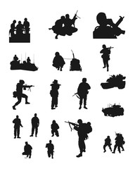 Set of the Soldiers Silhouettes. Vector Image