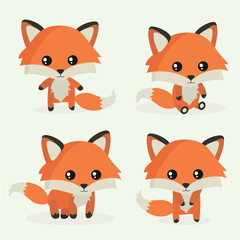 Cute little fox. Vector set. Zoo, animal. Forest. Cute illustration for kids