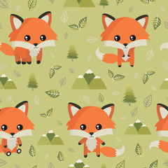 Fox. Seamless pattern with cute fox, mountains and leaves. Nature, travel, vacation. Forest. Cute vector illustration. All elements are  hidden under mask. Pattern are not cropped and can be edited.