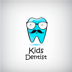 Pediatric Dental logo. Vector illustration. Funny character of tooth