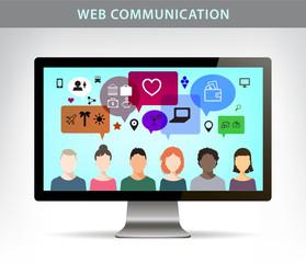 Vector web communication illustration, social net concept.