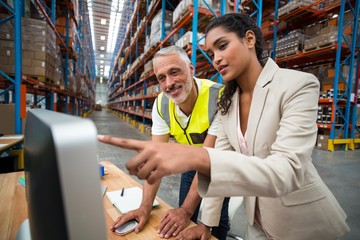 Manager and worker are looking a computer