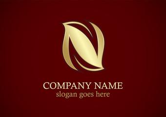 letter n leaf organic gold logo
