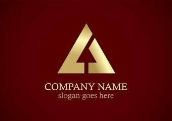 triangle shape arrow gold logo