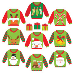 Ugly christmas sweater vector cartoon illustration
