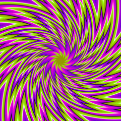 Green background with purple flower (spin illusion)