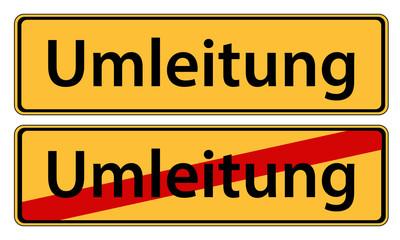 Umleitung Schild Anfang und Ende
