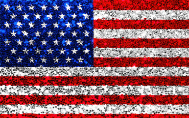 american USA fabric glitter flag, sparkle stars and stripes