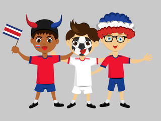 Fan of Costa Rica national football team, sports. Boy with flag in the colors of the national command with sports paraphernalia. Kid with national flag.