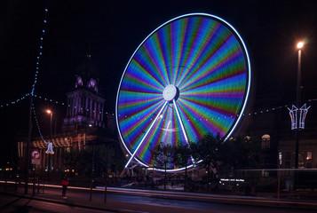 Leeds Big Wheel and Town Hall before Christmas.