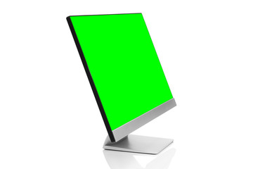 Sleek modern computer display with blank green chroma key screen, front side view tilted and isolated on white background with reflection