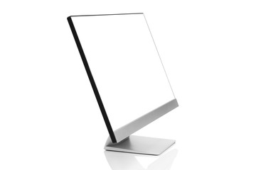 Sleek modern computer display with blank white screen, front side view tilted and isolated on white background with reflection