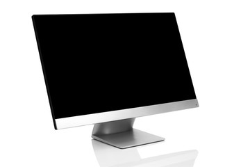 Sleek modern computer display with blank black screen, front side view titled up and isolated on white background with reflection