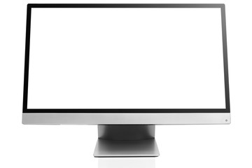 Sleek modern computer display with blank white screen, front view tilted and isolated on white background with reflection