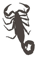 2d cartoon illustration of scorpion