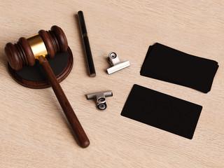 Judge's gavel on wooden table. 3D illustration